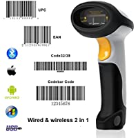 Bluetooth escáner de código de barras munbyn con cable + inalámbrico 2en 1láser de código de barras Lector para Android IOS WINDOWS sistema
