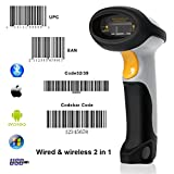 [Upgrade 2.0] Bluetooth Barcode Scanner MUNBYN USB-Kabel + Wireless 2 in 1 Laser Barcode Reader für Android iOS Windows-System