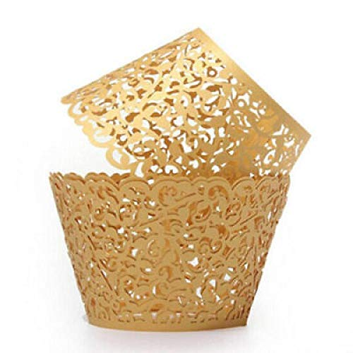 50 Stück Lasergeschnittenes Cupcake Verpackungen für Hochzeit Geburtstag Party Baby Dusche Dekoration (Gold, OneSize)