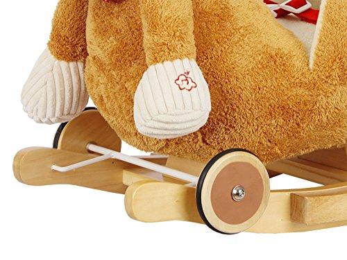 Dunjo® Schaukelpferd Plüsch | Baby Schaukeltier Pony | Für Kinder Jungen Mädchen 1 - 3 Jahre | mit Sicherheitsgurt Rollen und Musik - 3