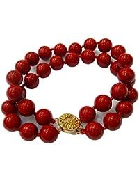 Schmuckwilly Muschelkernperlen Perlenarmband Perlen - Muschelkernperlen Armband 2-reihig rot Hochwertige mb0044
