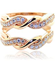 rings-midwestjewellery. com Mujer 1/3cttw Diamond Rose Gold Ring Guard Solitaire Chaqueta 10 K infinity estilo 13 mm de ancho