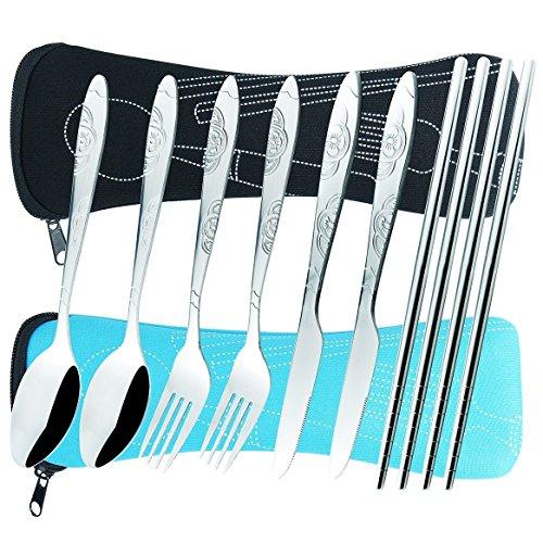 AckMond Camping Utensilios al aire libre Cuchillería Conjunto de grado militar de tenedor, cuchara, cuchillo y palillos de acero inoxidable (2 - Pack Negro y Azul)