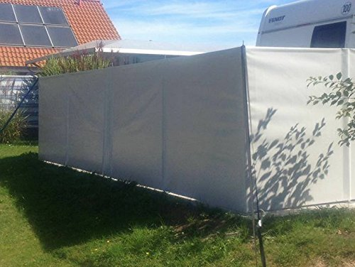 (Meterware) Windschutz Sichtschutz Camping aus LKW Plane (LKW-Planenqualität) stabil m. Laschen&Ösen AN-KO Trading (140cm hoch, Grau RAL7004)