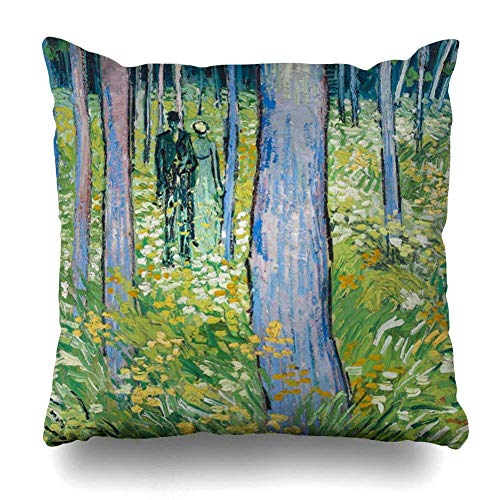 Throw Pillows Covers For Couch/Bed 18 x 18 inch,Vincent Van Gogh Undergrowth With Two Figures Home Sofa Cushion Cover Pillowcase Gift Decorative Hidden Zipper Summer Beach Sunlight