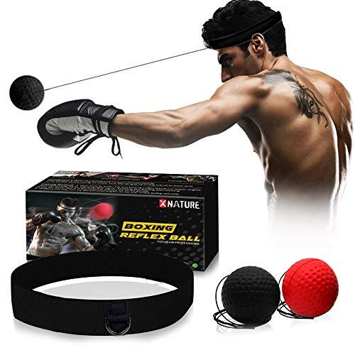 Xnature Boxen Training Ball Reflex Fightball Speed Fitness Punch Boxing Ball mit Kopfband, Trainingsgerät Speedball für Boxtraining Zuhause und Outdoor MEHRWEG (Schwarz + Rot & Box)