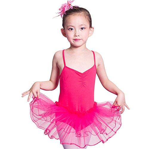 Baile de Ballet Jersey Camiseta de Niña Maillot Traje de Ballet Leotardo Princess Girls Vestido de Pantera Falda de Tul Traje de Carnaval (Edad: 3-10 Años) (150 (7-8 Años), Rosa roja)