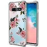 WIWJ Coque de protection en silicone pour Samsung Galaxy S10 Motif fleurs et fleurs Transparent Rosa Rose