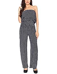 d58e097d9c New Ladies Womens Black and White Polka Dot Print Frill Top Palazzo Playsuit  Jumpsuit Plus Size