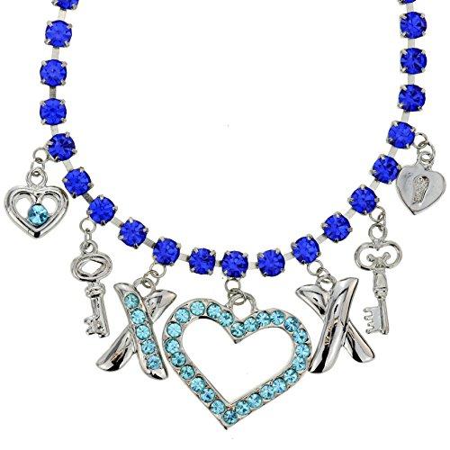 Behave Wunderschöne Charm Halskette mit blauen Kristallsteinen - Silberfarbene Halskette mit Schlüssel und Herzanhängern - Herzketten