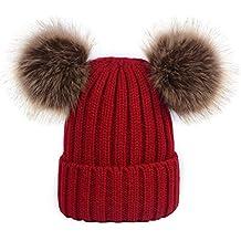 YeahiBaby Sombreros de punto de bebé Gorro de gorro de invierno cálido con  bolas mullidas para 539c00971f1