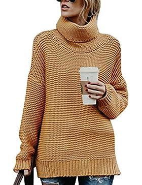 AnyuA Mujeres Color Sólido Manga Larga OL Jersey De Punto Cuello Alto Suéter