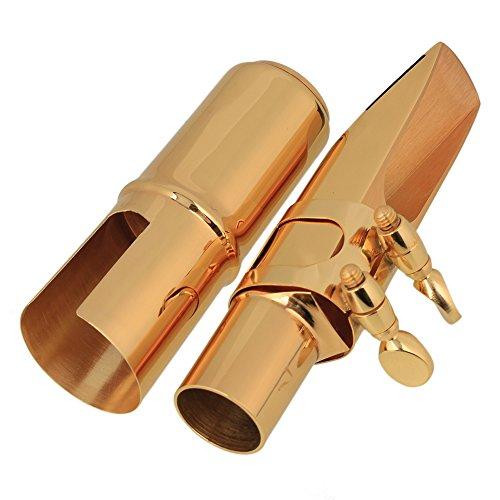 yibuy BB-TENOR SAXOPHON Metall Mundstück mit Kappe und Blattschraube Größe # 7Golden