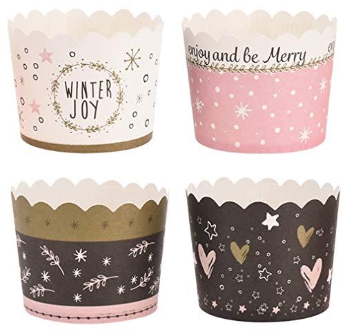 100 Pappförmchen für Muffin, Cupcake, EIS, Dessert - 4 unterschiedliche Winter Motive, festlich für Party, Weihnachten und Silvester