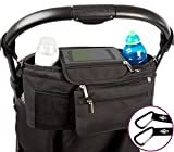 BTR Kinderwagen-/Buggy-Organizer oder Aufbewahrungstasche mit Reißverschlusstasche und Geldbeutel. Baby Kinderwagentasche PLUS Kinderwagen Clips x 2