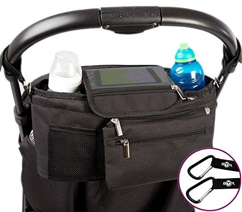 BTR Kinderwagen- / Buggy-Organizer oder Aufbewahrungstasche mit Reißverschlusstasche und Geldbeutel. Baby Kinderwagentasche