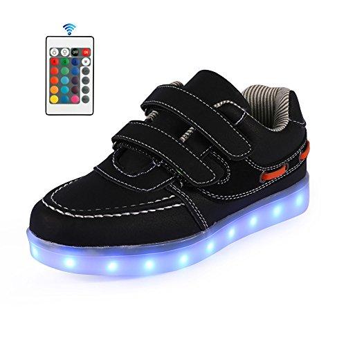 AFFINEST Kinderschuhe 7 Farben LED Schuhe USB Charging LED Fashion Sneakers Mit Fernbedienung?schwarz,29? (Wieder Zu Tanzen Kostüme)