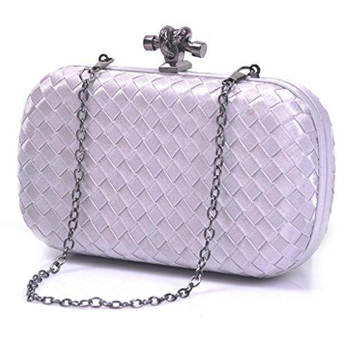 ERGEOB Damen Clutch Handgewebte Mode-Abendtasche für Event Hochzeit Theater alle Partys Grau Silber