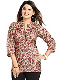 Color Petal Floral Printed Silk Short Kurti / Tunic / Top For Women And Girls For Diwali Festival