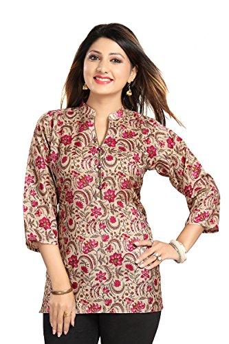 Color Petal Printed Short Length Art Silk Kurti for Modern Woman (Small)