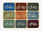VTXWL Vintage Bath Mat, Retro Image Collage of Bicycle Bikes in a Row with Abstract Pattern Colored Art, Plush Bathroom Decor Mat with Non Slip Backing, 23.6 W X 15.7 W inches, Multicolor
