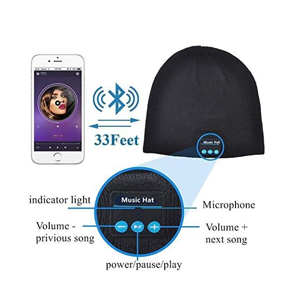 Berretto musicale Bluetooth, cappello lavorato a maglia bluetooth unisex con cuffie stereo e microfono vivavoce per… 2 spesavip