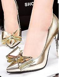 &G&g& 2016 Chian Zapatos de mujer - Tacón Stiletto - Tacones / Puntiagudos - Tacones - Boda / Vestido / Fiesta y Noche - Cuero Patentado - Plata / Oro , 3in-3 3/4in-golden