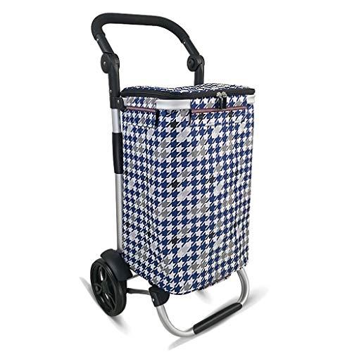 M-Home Einkaufswagen, Ultraleichtes Rad 2 Tragbare Wasserdichte Oxford Tuch Aluminiumlegierung Faltbarer Trolley -L45 * W35 * H92.5cm (Farbe : Bunte) - Stahl 17-zoll-rad