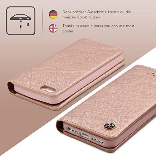 Étui iPhone 5 / 5s / SE, Urcover Gentlemen Series Housse [avec Fente pour Cartes + Poche] Coque Apple iPhone 5 / 5s / SE Case Noir Smartphone Rose Dorée