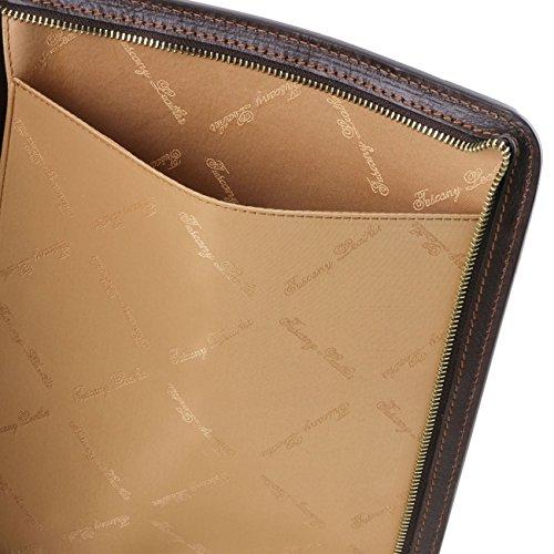 Tuscany Leather Lucio - Exclusif porte-document en cuir avec anneaux Marron foncé Porte-document en cuir Rouge