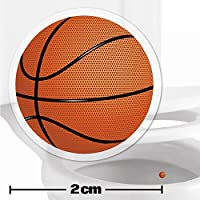 10 x Basketball Toilet Target Stickers - 2cm Wide - Cleaner Bathroom/Restroom Floor In A Flash With No Cleaning Products - Helps Improve Aim And Hit The Target - Toilet/Potty/Urinal Training Aid Aiming Reward - Suitable For Children, Toddlers, Boys And Adults