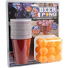 Idea Regalo - Adult Drinking Game 36 Piece Beer Pong Ultimate Tournament Kit Cups & Balls Set