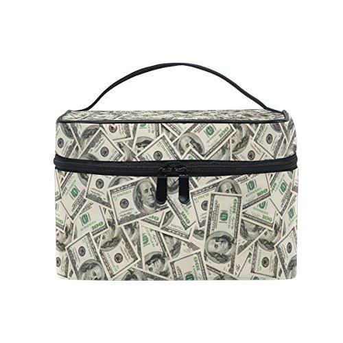Make-up Tasche, Funny Dollar Print Kosmetik Kulturbeutel Aufbewahrung Organizer Fall Große Reise Griff personalisierbar Tasche mit Fächern für Mädchen Frauen Lady