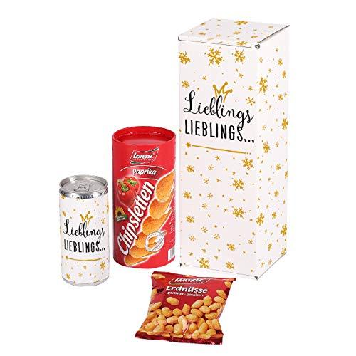 Herz & Heim® Snack Geschenkset mit Erdnüssen, Chipsletten und einem Secco in einer Geschenkbox - individuell mit Ihrem Wunschnamen Lieblings.