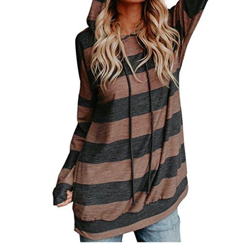 Huihong frauen hoodie t-shirt lose sweatshirt langarm streifen pullover bluse hoodie tops oansatz shirt hoodie pullover (Braun, XL) (Stretch-baumwolle Sleepshirt)