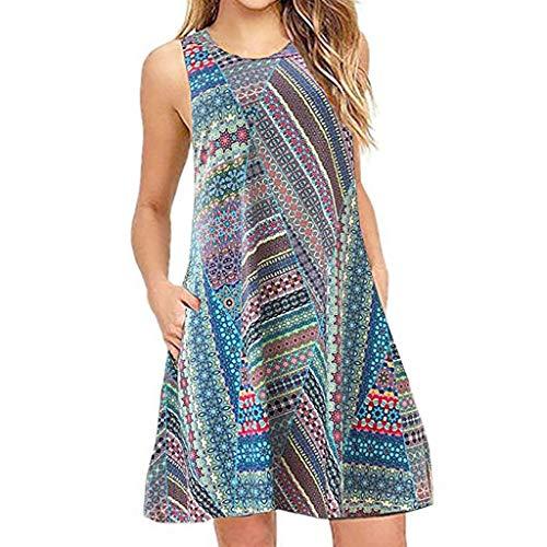 VEMOW Sommer Elegante Damen Frauen Lose Vintage Sleeveless 3D Blumendruck Bohe Casual Täglichen Party Strand Urlaub Tank Short Mini Kleid(X1-Blau, EU-36/CN-S)