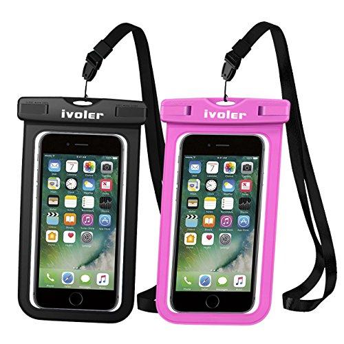 [Certifiée IPX8] Pochette Téléphone Étanche, [Lot de 2] iVoler Housse Coque Étanche Universel (Smartphones Jusqu'à 6.2 Pouces) Waterproof Case Bag Etui Safe Water Pouch pour iPhone X, 8, 8 Plus, 7, 7 Plus,6 / 6s Plus, SE 5S 5C, Samsung Galaxy S9/S9 Plus/S8/S8+/S7/S7 Edge, Huawei, Wiko, LG, Sony, Motorola, et d'autres appareils de taille égale ou inférieure à 6.2''. [Garantie à Vie] (Nior+Rose)