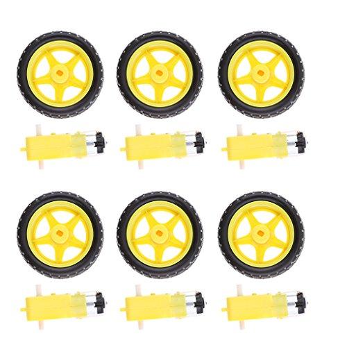 Baoblaze 6 x DC-Getriebemotor Getriebemotor + 6 x Rad Räder Tire Reifen für Arduino Roboter, Intelligente Auto Diy (Roboter-diy)