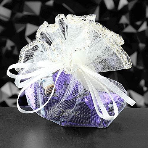 100pz sacchetti tulle veli organza con nastrino per matrimonio compleanno battesimo comunione bianco (bianco)