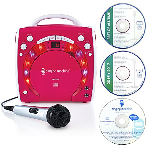 Singing Machine SML283PK  Portable Plug-n-Play Karaoke CDG Player mit extra bonus CD's pink
