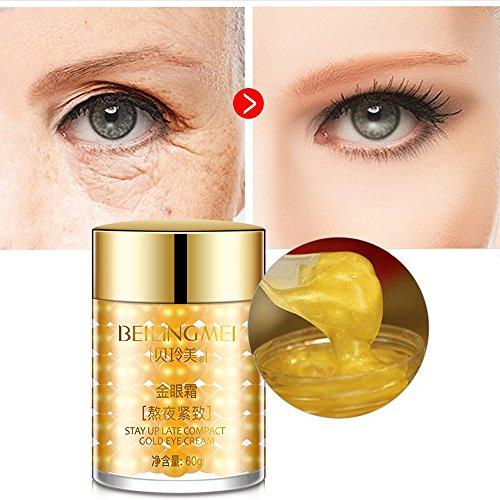 Goldenes Augengel/Augencreme für trockene Augen und übernächtigte Augen gegen Augenringe und Tränensäcke mit Perle Extrakt und Aloe Vera Extrakt 60g
