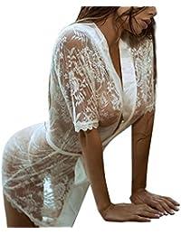 11565fe29b33f Lolittas Chemise De Nuit En Dentelle Blanche Blanc Mode Femmes Fille Sexy  Dressing Robe Babydoll Dentelle Lingerie Peignoir De Bain VêTements…