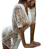 Lolittas Chemise De Nuit en Dentelle Blanche Blanc Mode Femmes Fille Sexy Dressing Robe Babydoll Dentelle Lingerie Peignoir De Bain VêTements Nuit (Blanc, M)
