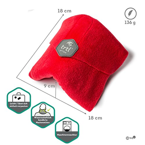 Trtl Pillow – Scientifically Proven Super Soft Neck Support Travel Pillow – Machine Washable Red