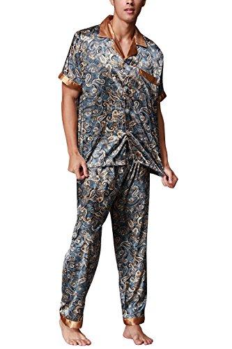 Dolamen Herren Schlafanzug, Satin Retro Druck Lang Zweiteiliger Pyjamas Frühling Sommer, Herren Schlafanzug mit Überprüfen Sie geknöpftes Hemd Kragen mit Tasche L XL XXL Lakeblue