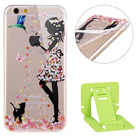 Ekakashop iPhone 6/6s (4.7 pouces) Soft Silicone Fashion Coque Couverture, Belle Motif de Série fleur fée [Scratch-Resistant] [Ultra Mince] [Ultra léger] Doux Souple Flexible TPU Gel Transparente Cas Cover Housse Étui Arrière de Protection Pour Apple iPhone 6s - fille et chat noir + 1x cartes gratuites se