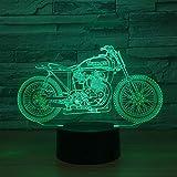 orangeww 3D Illusion Nachtlicht/Wildschwein/hässlicher Fisch/Goldfisch/Schildkröte / 7 wechselnde Farben Berührungsschalter/Baby Kinder Schlafzimmer Motorrad