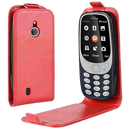 Nokia 3310 4G Custodia,Gift_Source[rouge]Ultra Sottile Flip Caso in PU Pelle Portafoglio Custodia Cover con Porta Carte, Funzione Supporto Stand, protettiva Case cover per Nokia 3310 3G 2017 / 4G 2018