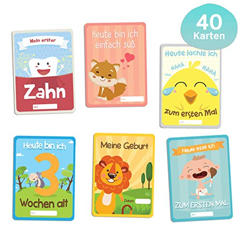 by 1. Lebensjahr, Babytagebuch, Gratis E-Book - 40. Baby Meilenstein-Karten für Junge und Mädchen - Ideales Geschenk zur Geburt, Schwangerschaft, Taufe - Milestone Cards Deutsch ()