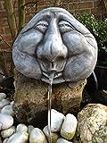Steinfigur Wasserspeier Gartenfigur Steinkopf für Garten Deko Steinguss